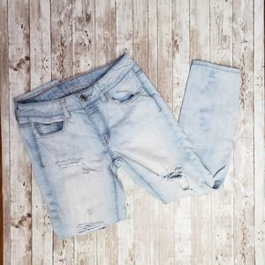 ae button fly distressed jeans size 00 regular
